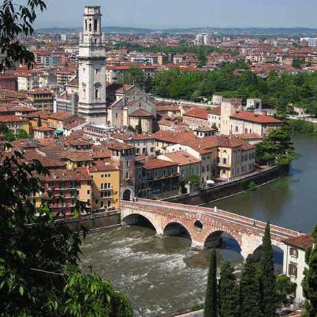 The Ponte Pietra over the Adige River in Verona