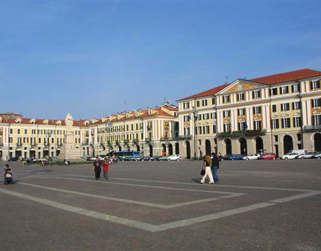 View of the central square in destination wedding location Cuneo