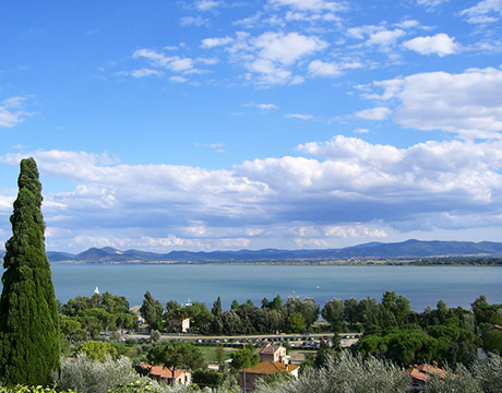 View of destination wedding location Lake Trasimeno in Umbria