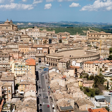 View of city centre of destination wedding location Macerata