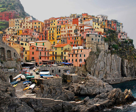 View of destination wedding location Manarola, in Cinque Terra