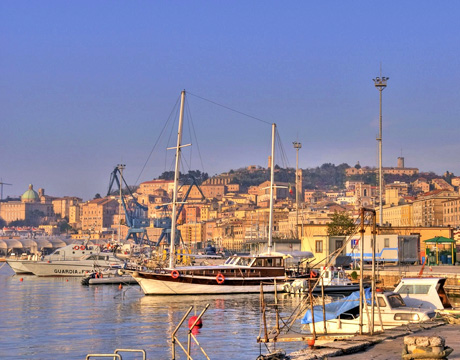 View of port of Ancona in destination wedding location Marche
