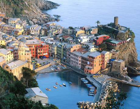 View of destination wedding location Vernazza on Italy's Cinque Terra
