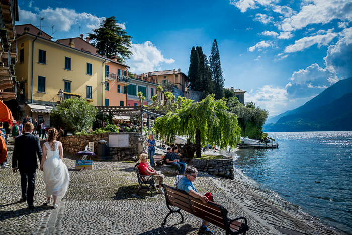 Lake shore walk in Varenna on Lake Como wedding