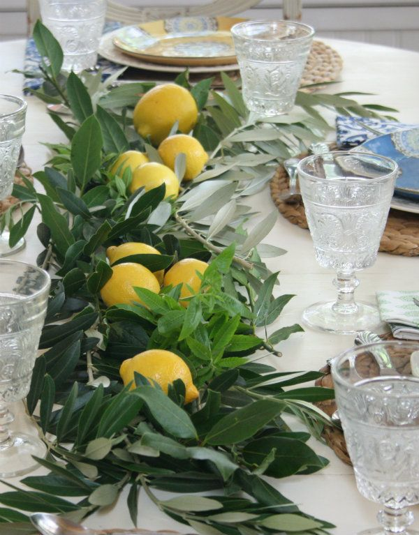 olive lemon garland table